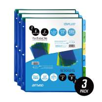 OS Plus 6-Tab Durable Pre-Printed Plastic Dividers with 2 Pockets, Assorted, Numbers, 3 Set