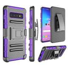 Jeylly Galaxy S10 Plus Holster Case, [Armor Shield] Rugged Military Grade Heavy Duty Case with Belt Clip Swivel Holster and Kickstand, Compatible with Galaxy S10 Plus [Purple]