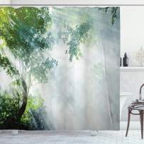 "Ambesonne Rainforest Shower Curtain, Sunbeam Between Shadows of Trees Idyllic Scenery of Solitude in Jungle Theme, Cloth Fabric Bathroom Decor Set with Hooks, 70"" Long, Green Bluegrey"