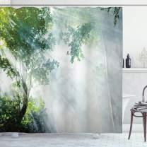 "Ambesonne Rainforest Shower Curtain, Sunbeam Between Shadows of Trees Idyllic Scenery of Solitude in Jungle Theme, Cloth Fabric Bathroom Decor Set with Hooks, 75"" Long, Green Bluegrey"