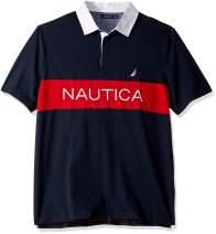 Nautica Men's Classic Fit Short Sleeve Logo Stripe 100% Cotton Polo Shirt