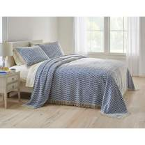 BrylaneHome Wave Chenille Bedspread - Full, Blue