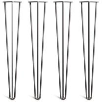 "[HLC] 4 x Hairpin Table Legs – Superior Double Weld Steel Construction with Free Screws, Build Guide & Protector Feet, Worth $10! – 4"" to 34"", All Finishes, Classic 3/8"" [28"", 3 Rod, Black]"