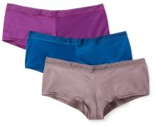 Amazon Brand - Mae Women's Soft Microfiber Cheeky Underwear with Lace, 3 Pack