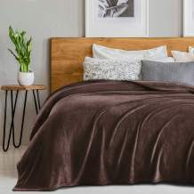 """SEDONA HOUSE Flannel Fleece Blanket 280GSM Luxury Microfiber Flannel Super Soft Warm Fuzzy Cozy Lightweight Blanket for Bed Couch or Car Color Brown Size Queen 90""""x90"""""""