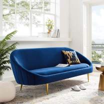 Modway Sublime Channel Tufted Curve Back Performance Velvet Sofa in Navy