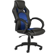 Best Choice Products Executive Racing Style Swivel Office Chair w/High-Back Seat, Tilt & Height Adjustment - Blue