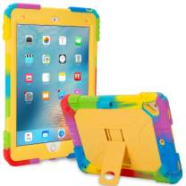 ACEGUARDER New iPad 9.7 Case 2018 (6th Gen)/2017 (5th Gen), iPad Air 2 Kids Case Rainbow Series,Shockproof Heavy Duty Silicone Protective Cover with Kickstand (Rainbow Yellow)