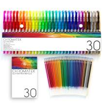 Glitter Pens 60 Set by Chromatek. Best Colors. 200% the Ink: 30 Gel Pens, 30 Refills. Super Glittery Ultra Vivid Colors. No Repeats. Professional Art Pens. New & Improved. Perfect Gift!