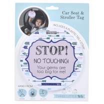 THREE LITTLE TOTS – Blue Arrow Modern Stop No Touching Baby Car Seat Sign or Stroller Tag - CPSIA Safety Tested
