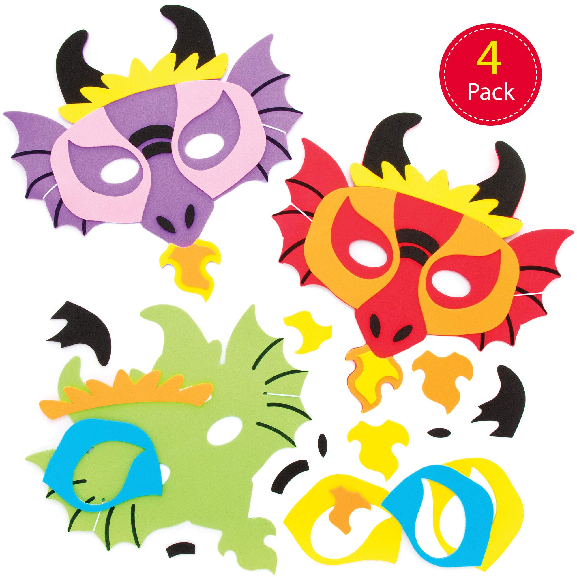 Baker Ross Dragon Foam Mask Kits — Creative Art and Craft Supplies for Kids to Make and Decorate (4 Pack)