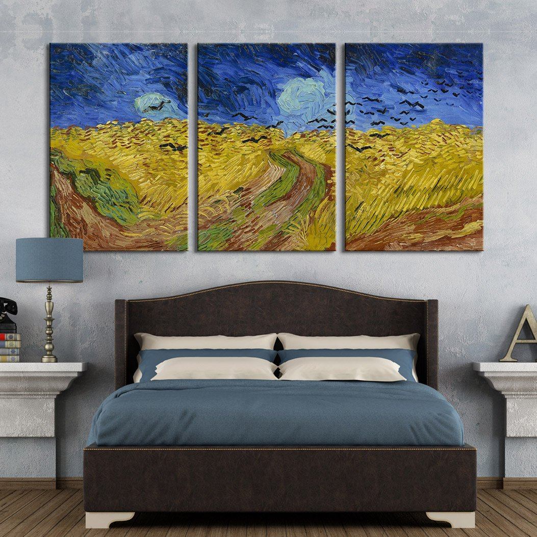 """wall26 3 Panel Canvas Wall Art - Wheatfield with Crows by Vincent Van Gogh - Giclee Print Gallery Wrap Modern Home Art Ready to Hang - 24""""x36"""" x 3 Panels"""