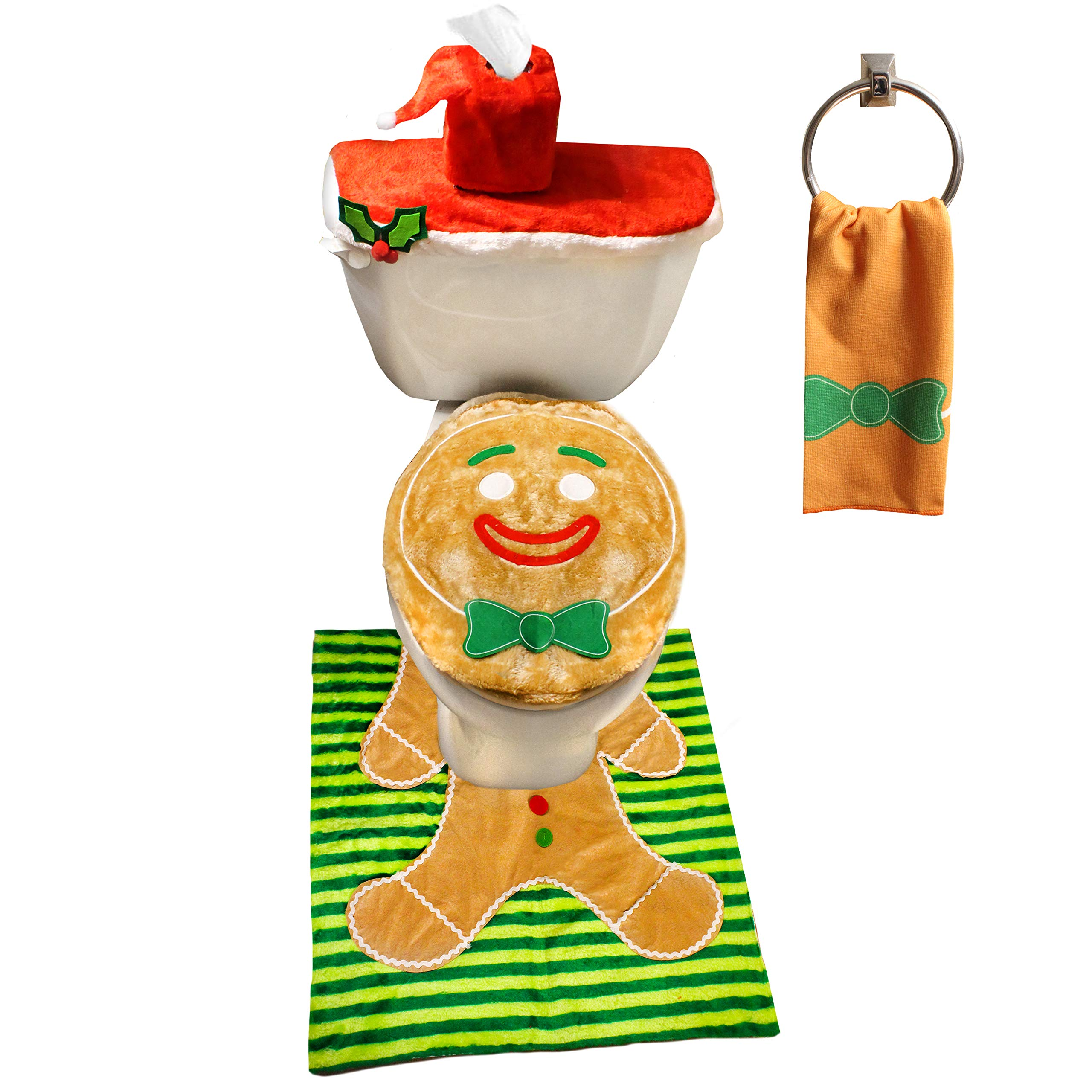 JOYIN 5 Pieces Christmas Gingerbread Man Theme Bathroom Decoration Set w/Toilet Seat Cover, Rugs, Tank Cover, Toilet Paper Box Cover and Santa Towel for Xmas Indoor Décor, Party Favors