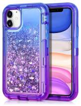 JAKPAK Case for iPhone 11 Case for Girls Women Glitter Sparkle iPhone 11 Case Heavy Duty Shockproof Protective Shell with Dual Layer Hard PC Bumper TPU Back Cover for iPhone 11 6.1 inches Blue Purple