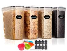 Aitsite Airtight Food Storage Containers 4 Pieces 135.2oz- Plastic BPA-Free Kitchen Pantry Storage Containers for Sugar, Flour and Baking Supplies - Dishwasher Safe