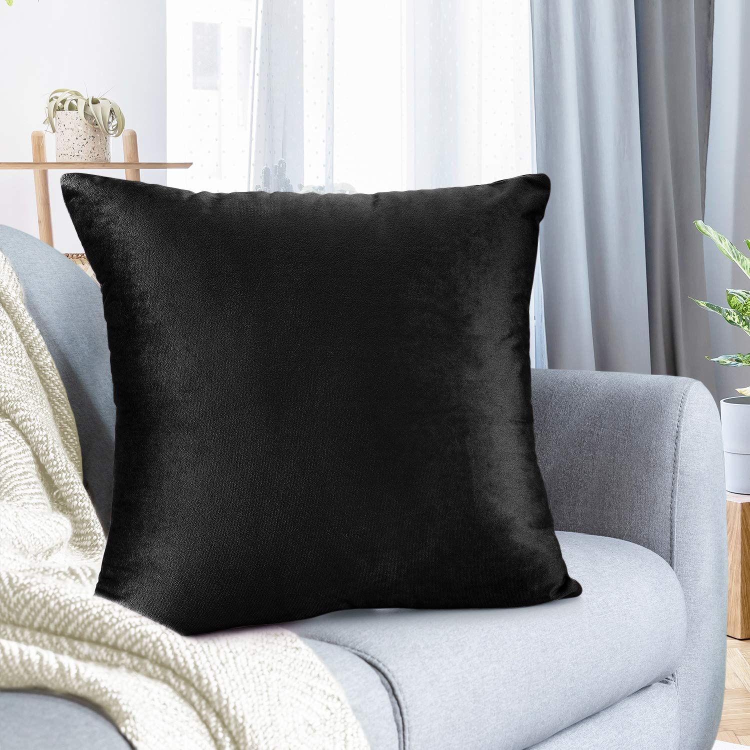 """Nestl Bedding Throw Pillow Cover 24"""" x 24"""" Soft Square Decorative Throw Pillow Covers Cozy Velvet Cushion Case for Sofa Couch Bedroom - Black"""