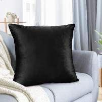 "Nestl Bedding Throw Pillow Cover 18"" x 18"" Soft Square Decorative Throw Pillow Covers Cozy Velvet Cushion Case for Sofa Couch Bedroom - Black"