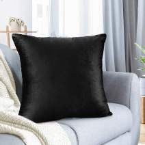 """Nestl Bedding Throw Pillow Cover 16"""" x 16"""" Soft Square Decorative Throw Pillow Covers Cozy Velvet Cushion Case for Sofa Couch Bedroom - Black"""