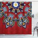 """Ambesonne Red Mandala Shower Curtain, Russian and Ukranian Lace Like Flowers Leaves Swirls Vintage Artwork, Cloth Fabric Bathroom Decor Set with Hooks, 70"""" Long, Red"""