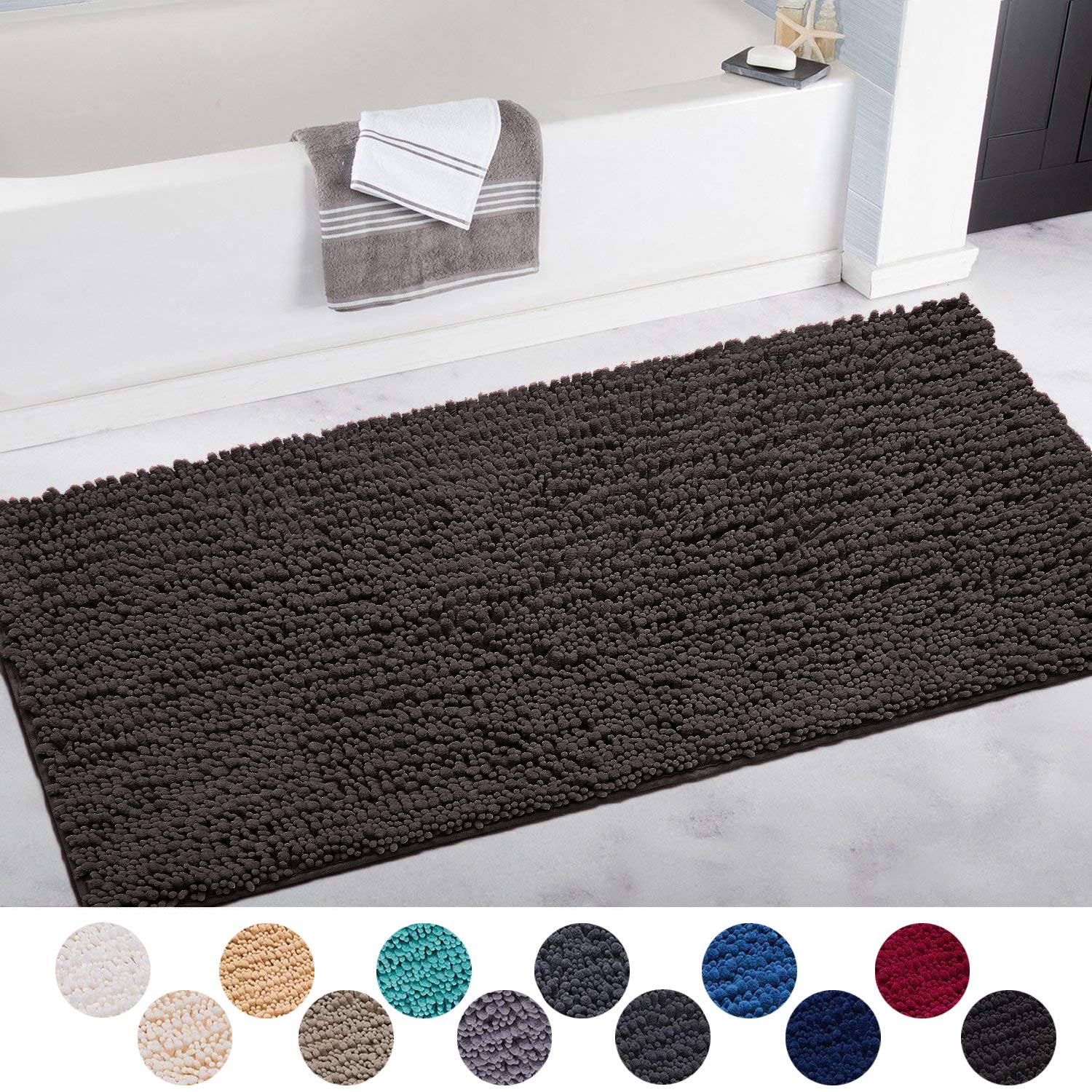 DEARTOWN Non-Slip Shaggy Bathroom Rug,Soft Microfibers Bath Mat with Water Absorbent, Machine Washable (31x59 Inches, Black)