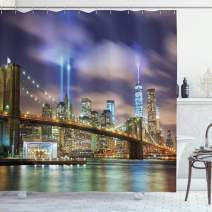 """Ambesonne Landscape Shower Curtain, Manhattan Skyline with Brooklyn Bridge and Towers in NYC United States America, Cloth Fabric Bathroom Decor Set with Hooks, 70"""" Long, Purple Green"""