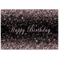 Allenjoy 7x5ft Pink Rose Golden Birthday Theme Photography Backdrop Supplies for Girls Sweet 16th Party Decorations Sparkle Glitter Glamour Studio Portrait Pictures Photoshoot Props Favors Background