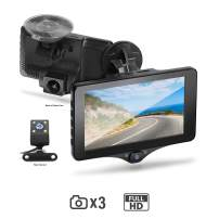 BOSS Audio Systems BCAM60 Car Dual Dash Cam and Rear Camera - 4 Inch IPS Touchscreen, Front-Inside-Rear 1080P Recording, G Sensor, Auto Loop Recording, 150° Wide Angle Front Camera, Night Vision