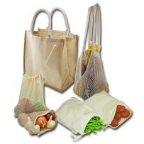 Simple Ecology Reusable Farmers Market Shopping 6 Bag Gift or Starter Set, Durable, Organic Cotton and Jute, Natural with Brown