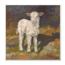 Stupell Industries Soft and Sweet Baby Lamb and Shadow Oil Painting Wall Plaque, 12 x 12, Multi-Color