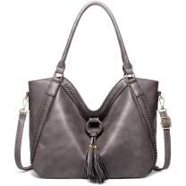 imeetu PU Leather Handbags for Women, Large Capacity Hobo bag Tassel Shoulder Purse