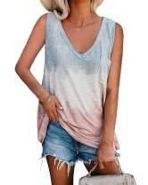 Esobo Womens Tie Dye Tank Tops Loose Fit V Neck Sleeveless Color Block Shirts Casual Tunic Tees with Pocket