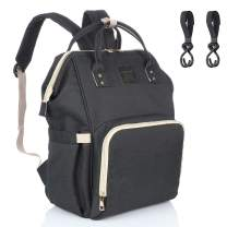 Diaper Backpack Multi-Function Waterproof Travel Baby Nappy Bag Large Capacity Stylish Durable Diaper Bag with Stroller Straps for Mom, Dad, Baby Care (Black)