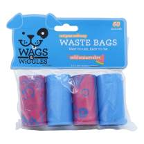 Wags & Wiggles Large Scented Dog Waste Bags | Watermelon Scented Dog Poop Bags | 6 Rolls of Doggie Bags, 90Count