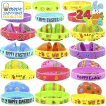 JOYIN 24 PCs Prefilled Easter Eggs with Silicon Rubber Bands Wristbands, Bright Colorful Easter Eggs Prefilled with Bunny Egg Bracelets for Kids Basket Stuffers and Party Decorations