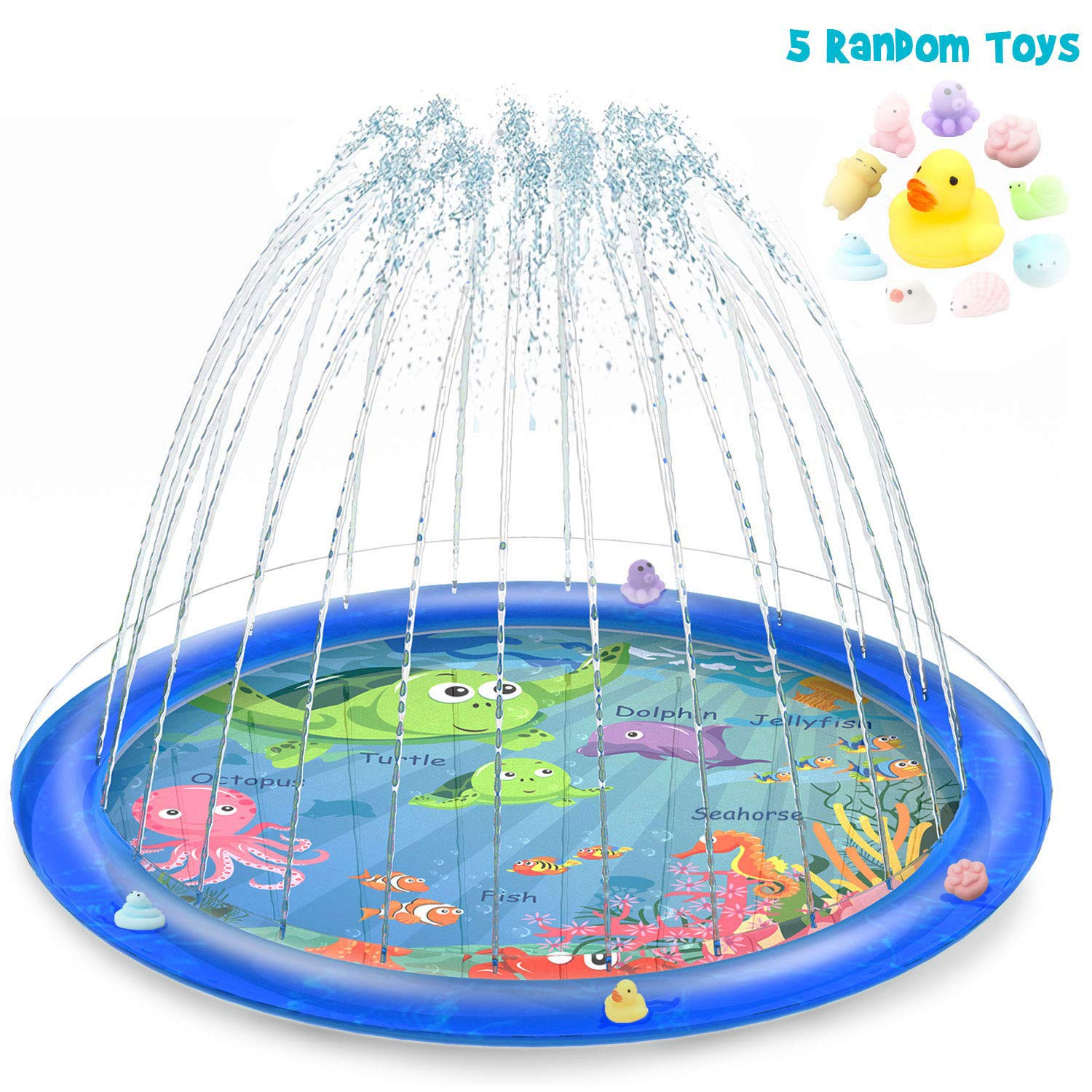 Sprinkler for Kids, Splash Pad, and Wading Pool for Learning – Children's Sprinkler Pool, 68'' Inflatable Water Toys Outdoor Swimming Pool for Babies and Toddlers