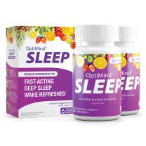 OptiMind Sleep (Formally RestUp), Fast-Acting Sleep Aid | Non-Habit Forming | Melatonin, Magnesium, 5-HTP, L-Theanine | Natural Tropical Flavor Fast Dissolving Tablets (60ct) | Packaging May Vary