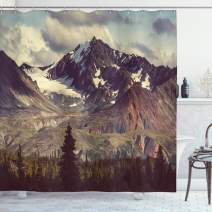 """Ambesonne Alaska Mountains Shower Curtain, Arctic Landscape Hiking Alaska Mountains Scenery in USA Wilderness, Cloth Fabric Bathroom Decor Set with Hooks, 84"""" Long Extra, Green Blue"""