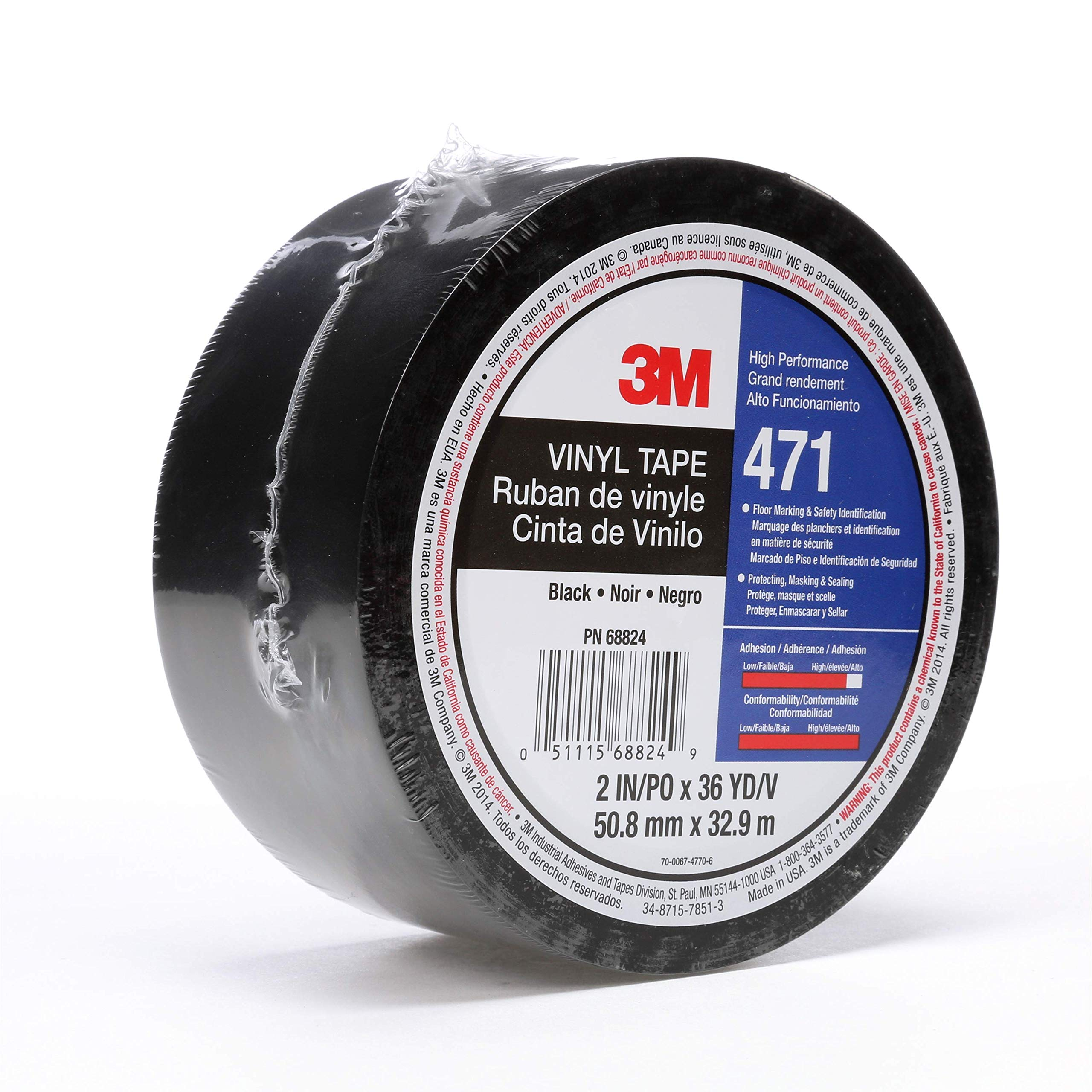 3M Vinyl Tape 471, 2 in x 36 yd, Black, 1 Roll, Paint Alternative for Floor Marking, Social Distancing, Color Coding, Safety Marking