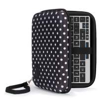 USA Gear GPD Pocket 7 Inch Mini Laptop PC Hard Shell Storage Travel Case - Compatible with 7 Inch Small Notebook UMPC Computer by GPD with Water Resistant Exterior, Interor Mesh Pouch - Polka Dot