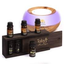 Diffuser for Essential Oils & 6 Essential Oils for Diffuser Set - Bergamot, Lavender, Tea Tree, Peppermint, Lemon, Orange - Oil Diffuser Gift Set- Led Lights