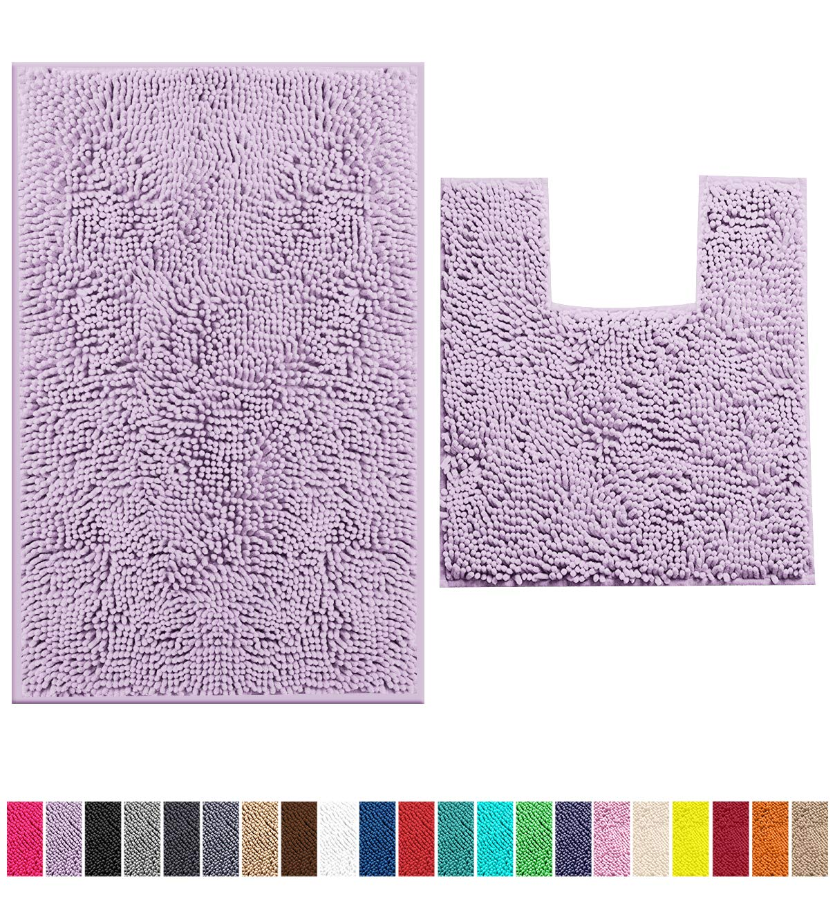 LuxUrux Bathroom Rugs Chenille 2-Piece Bath Mat Set, Soft Plush Anti-Slip Bath Rug +Toilet Mat.1'' Microfiber Shaggy Carpet, Super Absorbent Machine Washable Bath Mats (Curved Set Medium, Lavender)