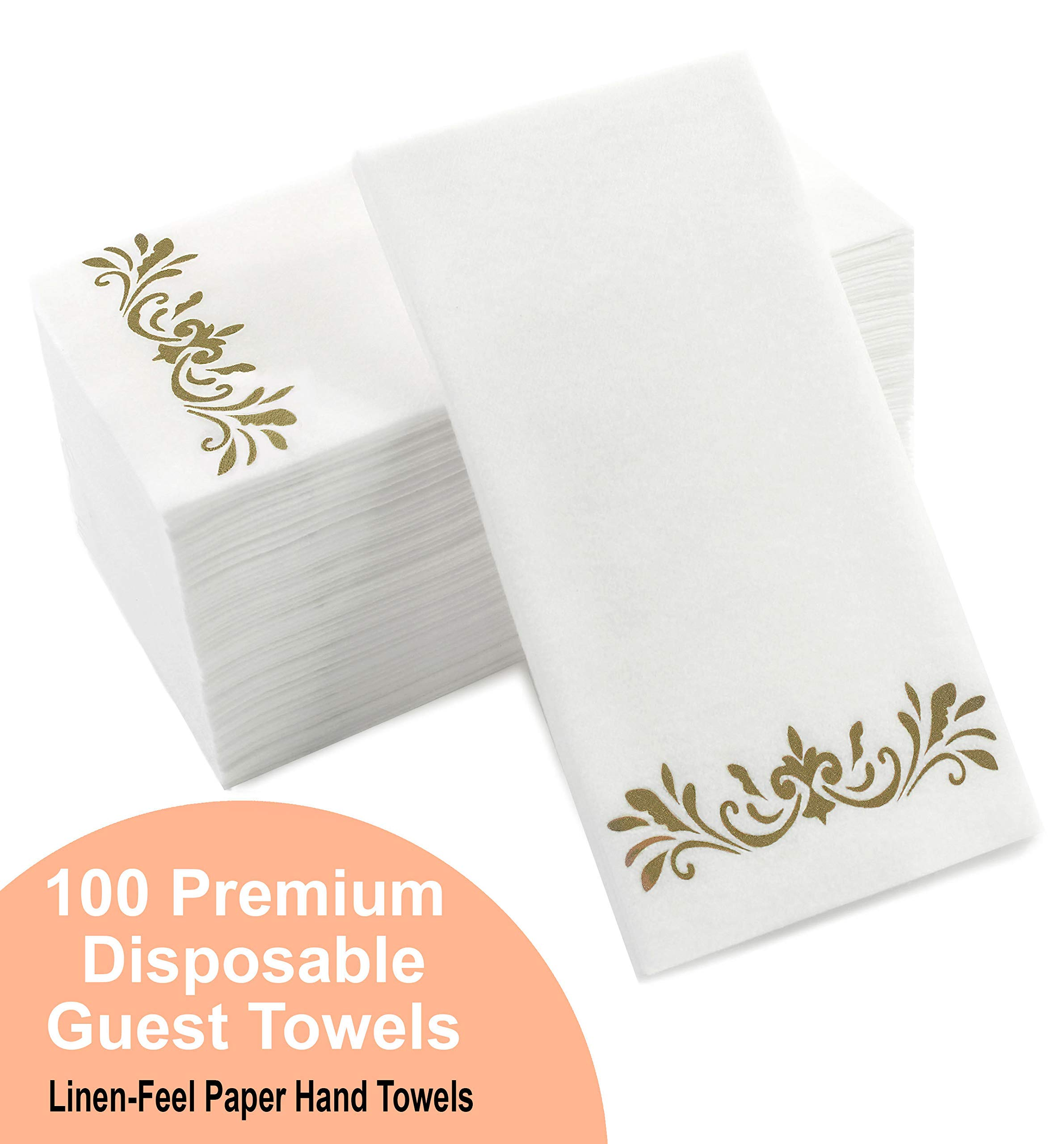 Rustic Gold Dinner Napkins, Disposable Party Napkins, Paper Napkins Decorative, Linen Feel Disposable Hand Towels for Wedding, Guest Bathroom & More - White with Rustic Gold, 100 Pack, 8.25 x 4 Inches