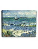 DECORARTS - The Sea at Les Saintes-Maries-de-la-Mer, Vincent Van Gogh Art Reproduction. Giclee Canvas Prints Wall Art for Home Decor 20x16 x1.5
