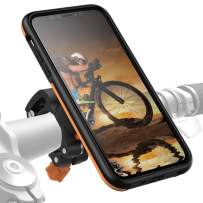 MORPHEUS LABS M4s iPhone 11 Pro Max Bike Mount, Phone Holder & iPhone 11 Pro Max Case, Bicycle Cell Phone Holder, Adjustable, fits Most Handlebars 360 Rotation, Bike Kit for iPhone 11 Pro Max [Orange]