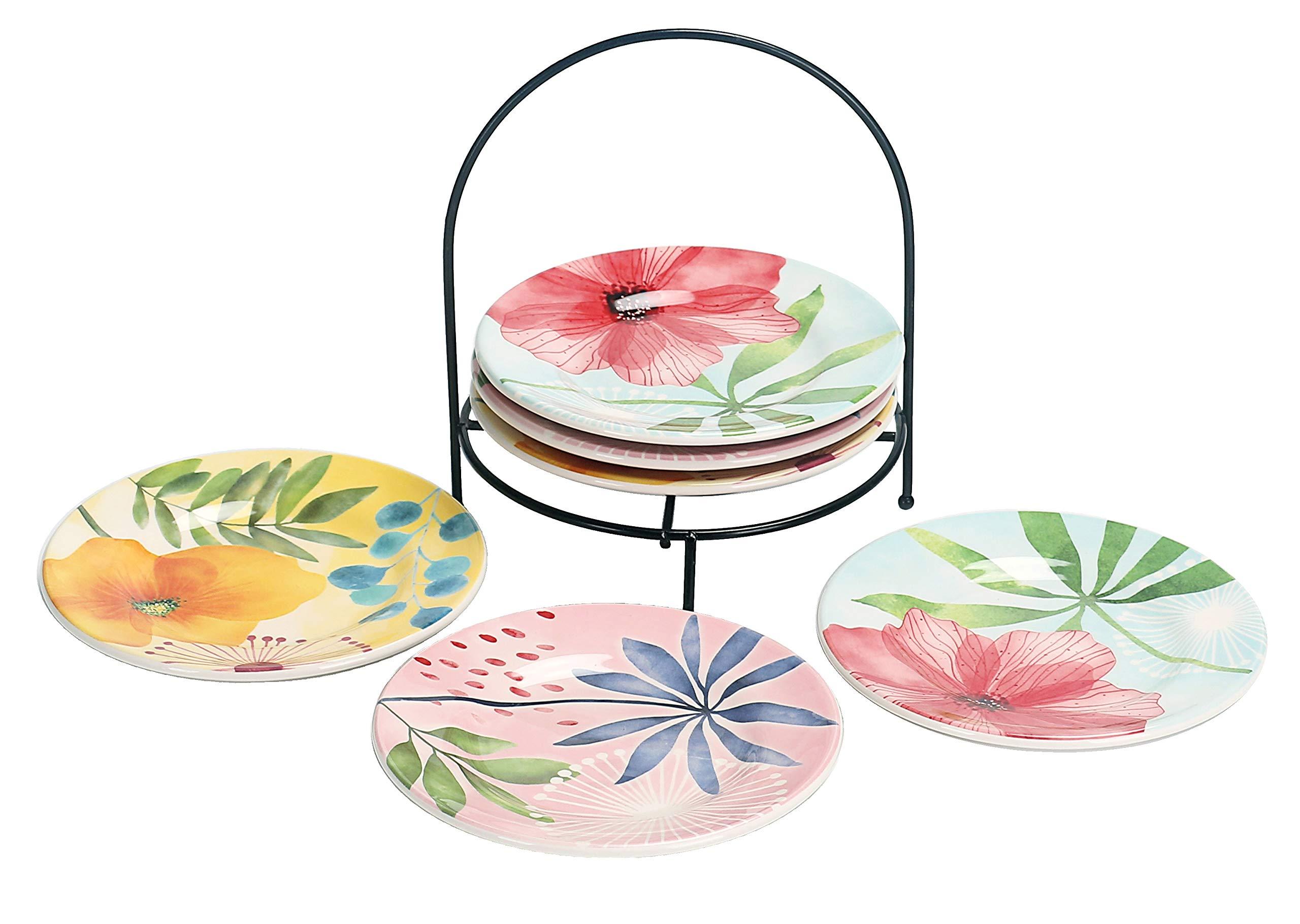 Bico Flower Carnival 6 inch Ceramic Appetizer Plate with Rack, Set of 7, for Salad, Appetizer, Snacks, Plates Microwave & Dishwasher Safe