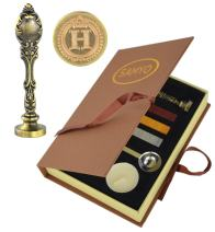 Samyo Creative Romantic Stamp Maker Classic Old-Fashioned Style Brass Color Wax Seal Sealing Stamp Vintage Antique Alphabet Initial Letter Set - (Letter H)