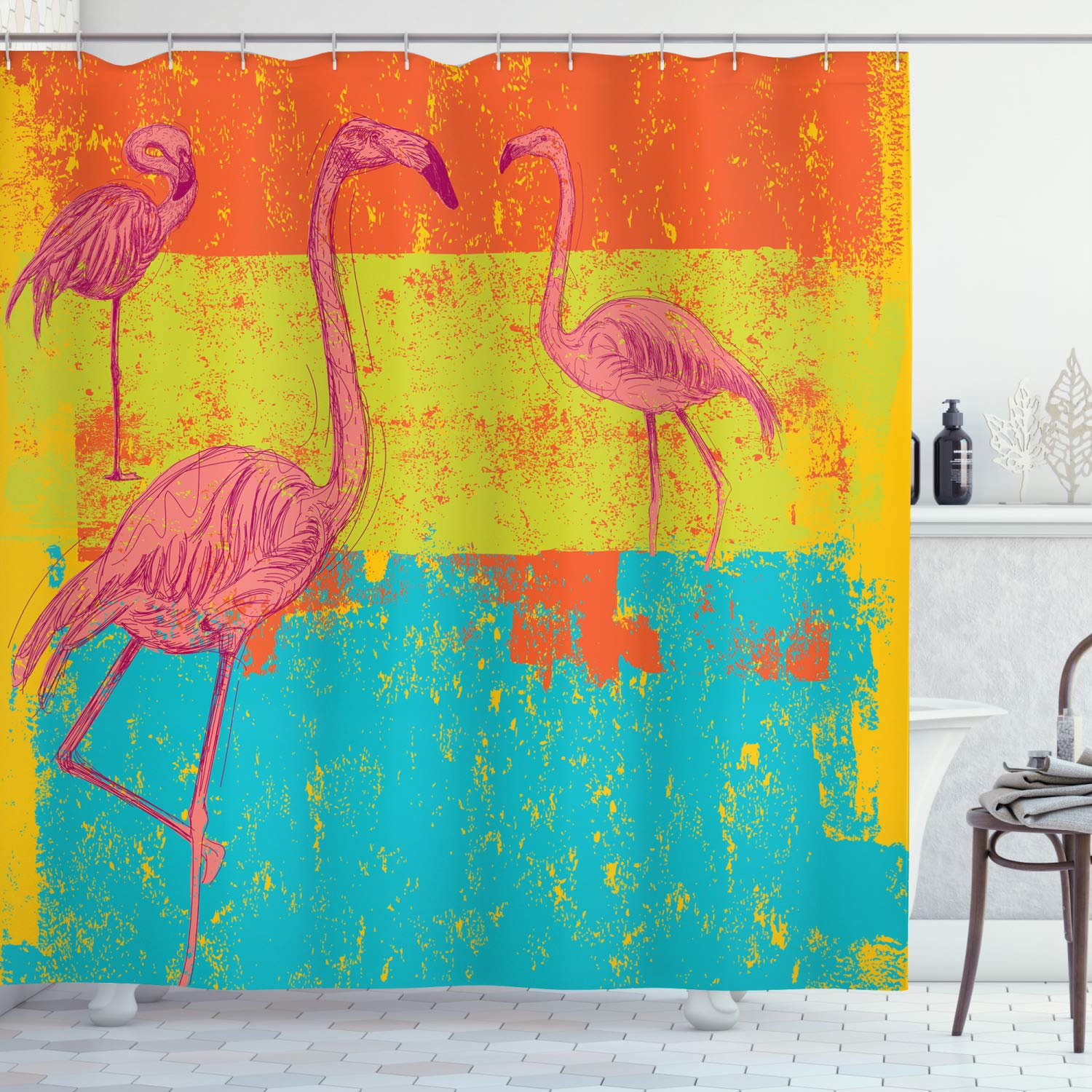 """Ambesonne Flamingo Shower Curtain, Illustration of Flamingos in Old Style Retro Vintage Colored Stripes Art Grunge, Cloth Fabric Bathroom Decor Set with Hooks, 75"""" Long, Teal Pink"""