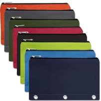 24 Packs - 3 Ring Canvas Cloth Pencil Pouches in Bulk Assorted Color Bundles (8 Color Assortment)