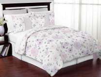 Sweet Jojo Designs Lavender Purple, Pink, Grey and White Shabby Chic Watercolor Floral Girl Full / Queen Teen Childrens Bedding Comforter Set - 3 pieces - Rose Flower