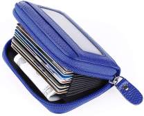 MaxGear Credit Card Wallet with Zipper, Genuine Leather Credit Card Holder with RFID Blocking Small Accordion Wallet